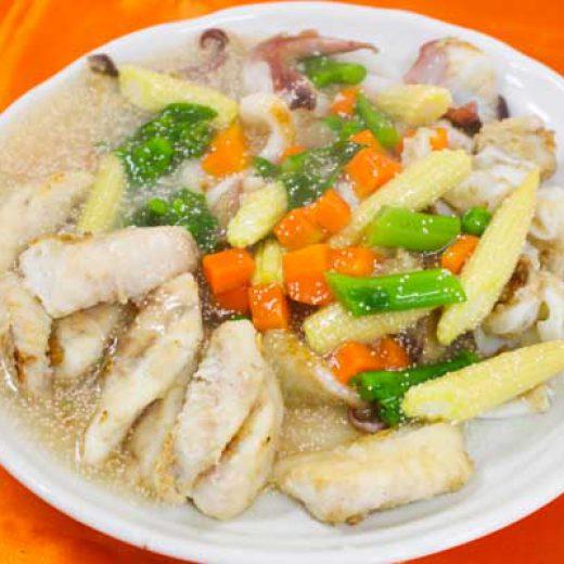明太子レシピ-鯛のソテー明太子と春野菜ソース